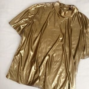 80s Liquid Gold Lamé Top